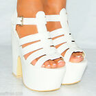 WHITE STRAPPY CHUNKY PU FAUX LEATHER WEDGED PLATFORMS WEDGES HIGH HEELS