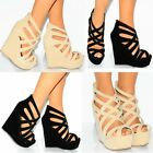 BLACK NUDE BEIGE WEDGED WEDGES SUMMER STRAPPY SANDALS PLATFORMS HIGH HEELS SHOES