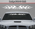 Design #100-01 SKULL Flame Flaming Windshield Decal Window Sticker Vinyl Graphic