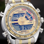 Chronograph Mens Sport Watch Date Digital LCD Light Quartz Alarm Wrist Watch FI