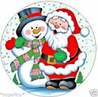 "SANTA & FROSTY SNOWMAN  24 x 2"" or Large 7.5"" Edible Cake Topper Rice Paper"
