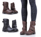 BAMBOO Buckles Zip Combat Military Boots Faux Leather Womens Ankle Boots Shoes