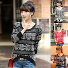 Womens VTG Totem Crew Neck Sweater Casual Loose Pullover Knitwear Jumper Tops