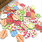New 10/50/100/500pc Merry Christmas Wood Buttons Sewing Mix Lots 25*24mm W181