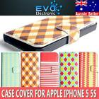 Cute Cartoon Gingham Series Flip Wallet Leather Case Cover For Apple iPhone 5 5S