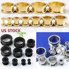 1 Pair Punk Stainless Steel Hollow Screw Ear Plug Tunnels Expander Stretcher
