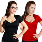 Steady Sophia Top Retro Rockabilly Pin Up Vintage Office Gothic 50s Black Red