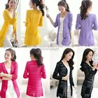 Womens Hollow Crochet Knit Blouse Top Coat Sweater Cardigan Shirt Sweater 8Color