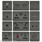 SCREWLESS FLAT PLATE LIGHT SWITCHES & PLUG SOCKETS BLACK NICKEL FULL RANGE SLIM