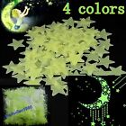100PCS Home Wall Glow In The Dark Stars Stickers Decal Baby Nursery Room 4 Color