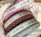 "VINTAGE Jacquard Rayon 1"" TRIM FRANCE RIBBON 1yd Embroidered SILK Roses SCALLOP"