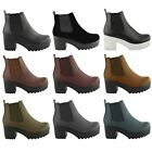 NEW LADIES WOMENS MID HEEL BLOCK PLATFORM BIKER ANKLE CHELSEA BOOTS SHOES SIZE