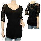 Sexy Lace Accented Black Plus Size Tunic Top