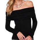 Womens Sexy Slash Neck Off Shoulder Strapless Slim Elastic Long Sleeve T-Shirt