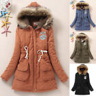 XMAS Thicken Winter Womens Fur Collar Long Hooded Parka Down Coat Jacket Outwear