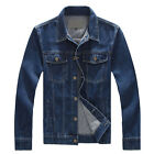 Spring Fall Mens Washed Casual Denim Jacket Lapel Jeans Plus Size Cotton Outwear
