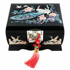 Mother of Pearl Inlay Black Lacquer Wooden Jewelry Necklace Music Chest Box Case