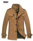 Mens Wool Blend PeaCoat Winter Coat Jacket Outwear High Collar Black Camel Grey