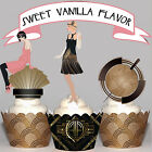 Vintage Wedding Party Art Deco EDIBLE wafer 15 Cupcake Toppers PRECUT cup cake