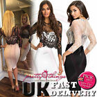 UK Womens Celeb Black Lace Bodycon Cocktail Evening Party Prom Mini Dress