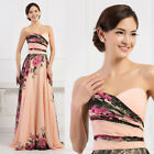 GORGEOUS Long NIGHT Evening Party FORMAL Prom RETRO FLORAL Bridesmaid Slim Dress