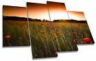 Red Poppy Field Sunset Canvas Wall Art Picture Multi 4 Panel Split