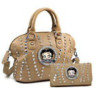 Betty Boop Purse with Wallet Set Women Rhinestone Studs Handbag Tote with Wallet