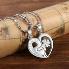 2pcs His and Hers Heart Key Matching Puzzle Stainless Steel Couples Necklace Set