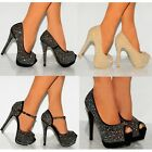 DIAMANTE SPARKLY PROM PARTY COURT SHOES PLATFORMS STILETTO HIGH HEELS SHOES