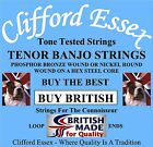 CLIFFORD ESSEX TENOR BANJO STRINGS. MEDIUM GAUGE. MADE IN GREAT BRITAIN.