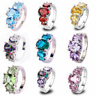 Pleased Oval Cut Silver Fashion Ring Rainbow Topaz & Ruby Gemstone Jewelry Gifts image
