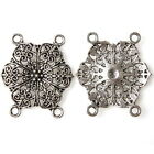 20/100pcs 145000 New 6 Petals Flowers Antique Silver Alloy Connectors Pendants