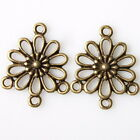 50/250pcs 144913 Hollow Flower Vintage Bronze Charms Alloy Connector Pendants