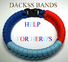 British Un-Official Help For Hero's Army Navy RAF Paracord WristBand Bracelet