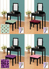 FC495 BLACK FINISH MAKE UP VANITY TABLE DESK WITH SEAT CUSHION BENCH & MIRROR