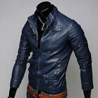 New fashion style men's slim fit casual short motorcycle Pu leather jacket coat
