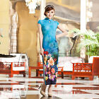 Внешний вид - Long Chinese Cheongsam Qipao Dress Blue Color-Fast Ship from IL US