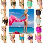 SARONG Beach Bikini Cover up Solid Pareo swim skirt short wr