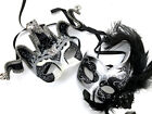 Black Silver Masquerade Jester Mask Bachelor Graduation Bachelor Costume Party