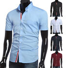 TOP FASHION Mens Slim Fit Short Sleeve T-Shirts Casual Shirts Tops Dress Shirts