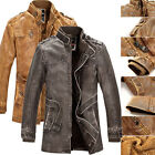 PU Leather Thick Jacket Men's Superb Trench Coat Outerwear Overcoat Windbreaker