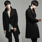 Korean Men's Trench Warmer Coat Winter Long Jacket Oblique Button Overcoat Tops