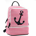 Women Canvas Backpack with Anchor Striped Backpack with Patent Leather Trim