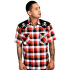 Steady Clothing Chaos Check Western Style Shirt Skulls Rockabilly Punk Retro