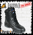 "New Mongrel Work Boots ZIP UP Steel Toe Cap/Safety Black 9"" High Lace Up 251020"