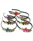 EVE FLORAL PINK BLUE RED BLACK PURPLE GRAY MULTI GEM  ACRYLIC GOLD HEADBAND NEW