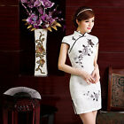 Внешний вид - Traditional Chinese Cheongsam Cheong-Sam Qipao Dress white  w embroidered flower