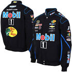 2015 Tony Stewart Mobil 1 Mens Black Twill Authentic Nascar Jacket-JH Design