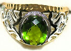 Men's Unique 10x8mm Oval Peridot 2 Tone Ring ** August  Birthstone ** 31512