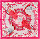NEW Authentic Hermes Silk Scarf CASQUES ET PLUMETS Pink Julia Abadie